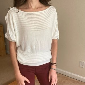 White wide neck knit top